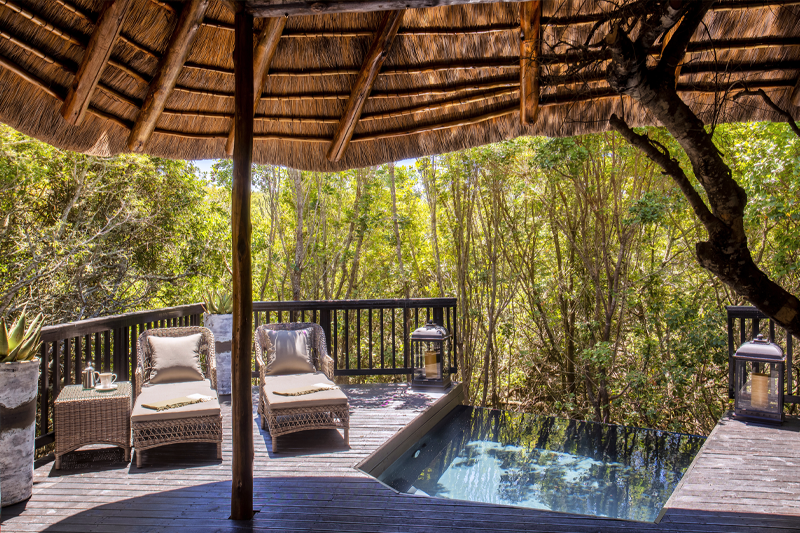 alibela Game Reserve - Kichaka Lodge - Bedroom - Private Viewing Deck and Plunge Pool - Bush Facing
