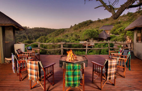 Lalibela Game Reserve - Tree Tops - Outdoor dining deck and boma